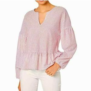 bcbgmaxazria sangria striped peasant woven top L